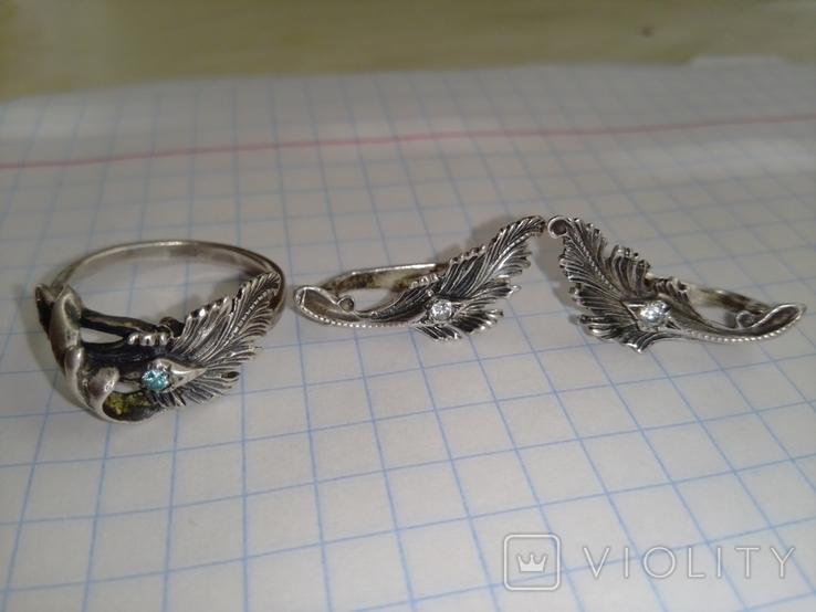Серебрянные серьги и кольцо 875пр. со звездой ( СССР ), фото №2