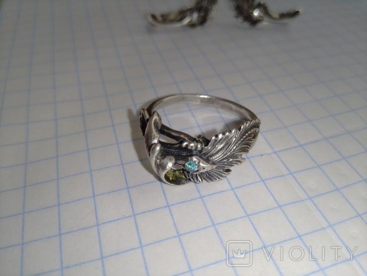Серебрянные серьги и кольцо 875пр. со звездой ( СССР ), фото №3