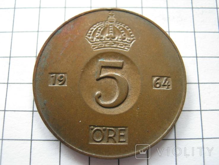 Швеция 5 эре 1964 года, фото №2