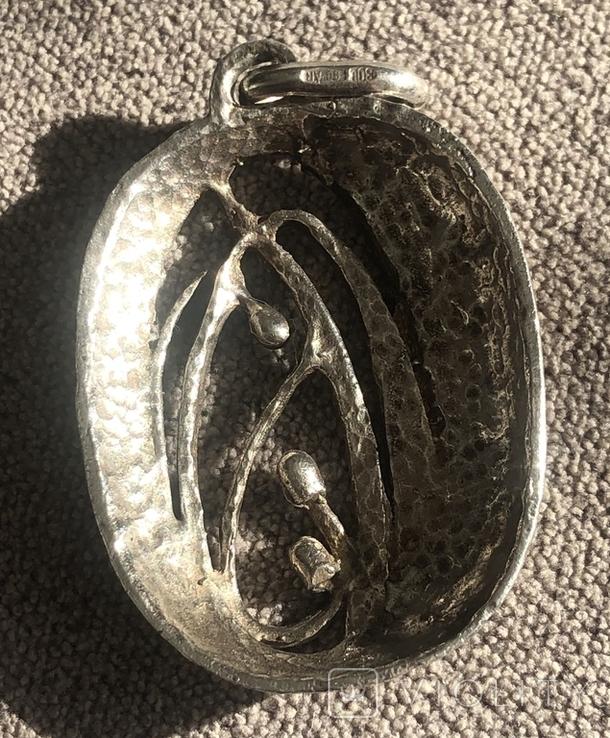 Массивный серебряный кулон с тиле ар нуво с эмалями (серебро 800 пр, вес 11,6 гр), фото №6
