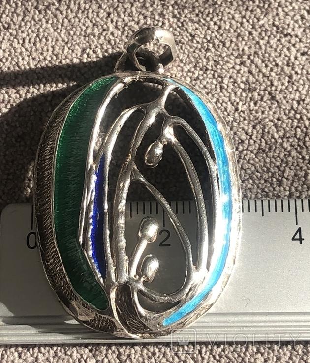 Массивный серебряный кулон с тиле ар нуво с эмалями (серебро 800 пр, вес 11,6 гр), фото №8