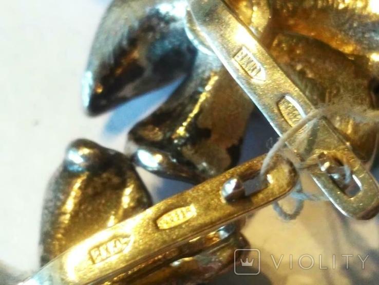 Гарнитур кольцо и серьги ( Новый .. 23 гр.) серебро, фото №7