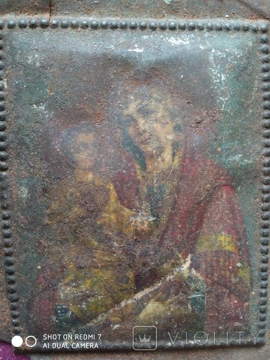 № 2405 Металлическая иконка Богоматери с утратой, фото №4
