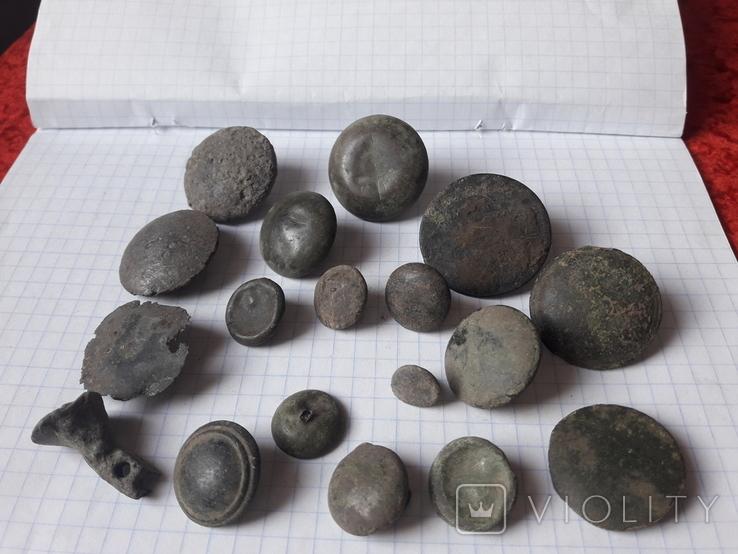 Пустотелые древние пуговицы бронза и не только, 18 шт, фото №2