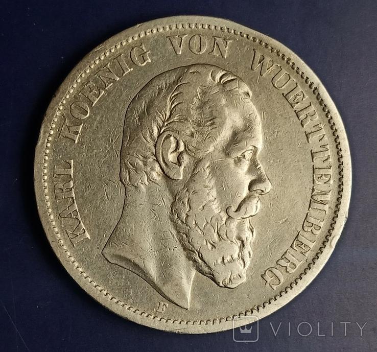 5 марок 1876 р. Вюртемберг, фото №4