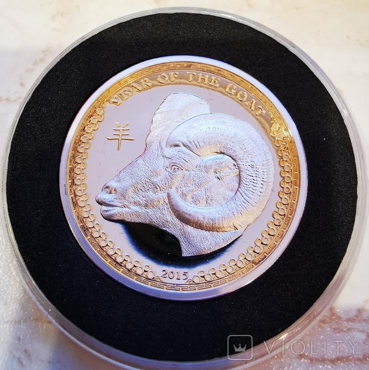 Palau YEAR OF THE GOAT series LUNAR 5 Silver Coin Ultra High Relief 2015 Proof Gilded 1 oz, фото №3