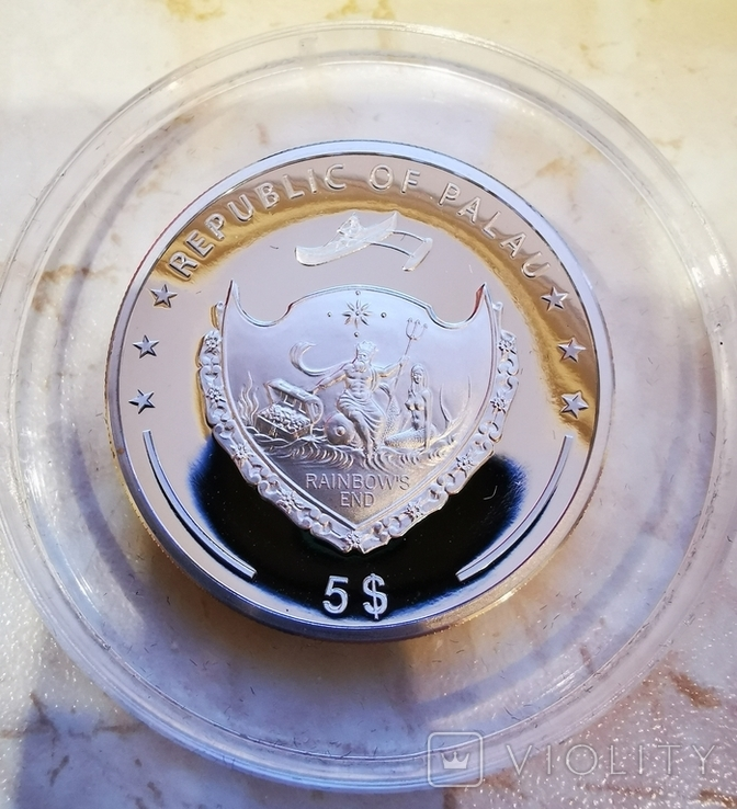 Palau YEAR OF THE GOAT series LUNAR 5 Silver Coin Ultra High Relief 2015 Proof Gilded 1 oz, фото №4