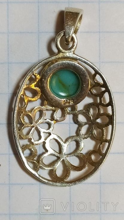 Кулон с берюзой серебро 925, фото №3