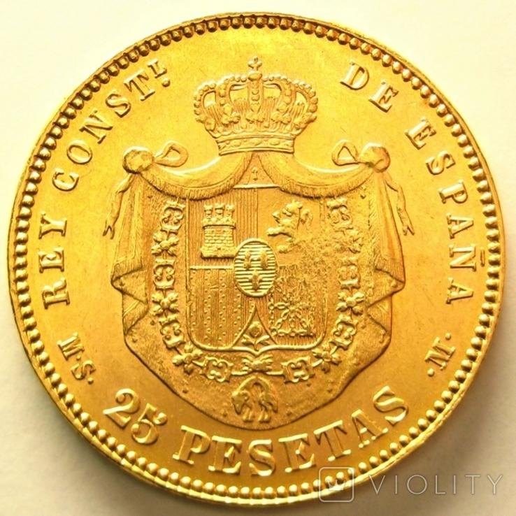Испания 25 песет 1881 г., фото №3