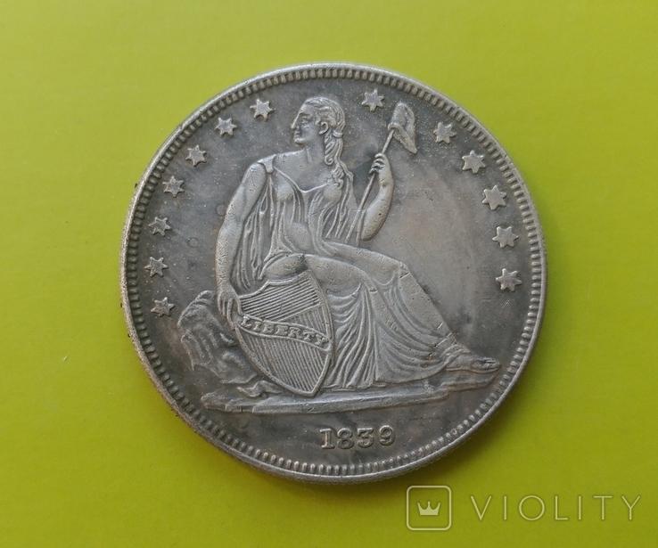 1 доллар 1839 г. Liberty США (копія), фото №2