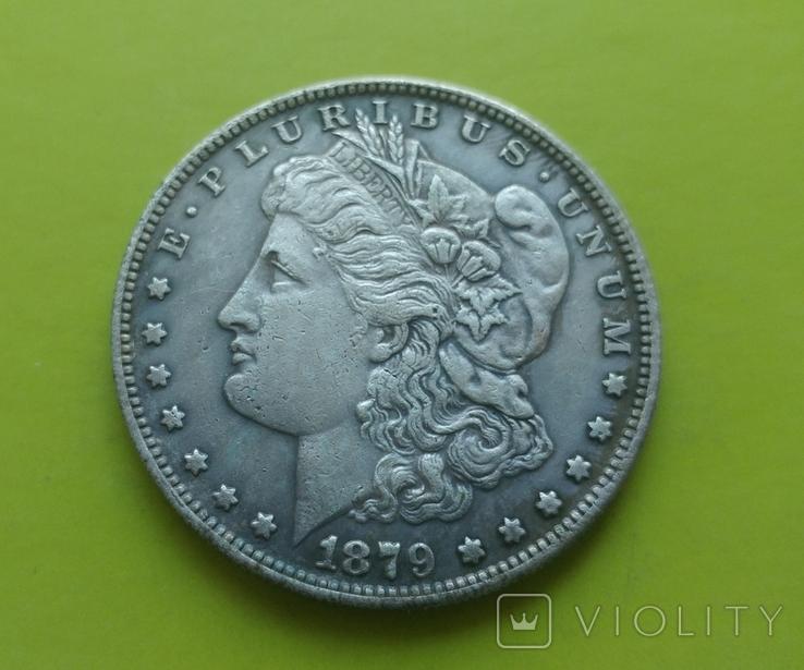 1 доллар 1879 г. S Morgan США (копія), фото №2
