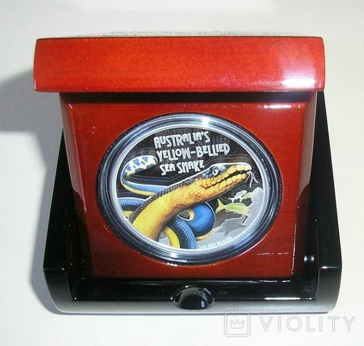 Австралия Тувалу 1 доллар 2013 Змея серебро 999 унция, фото №4