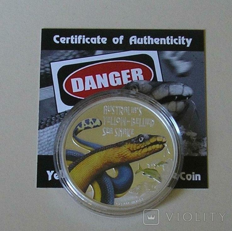 Австралия Тувалу 1 доллар 2013 Змея серебро 999 унция, фото №6
