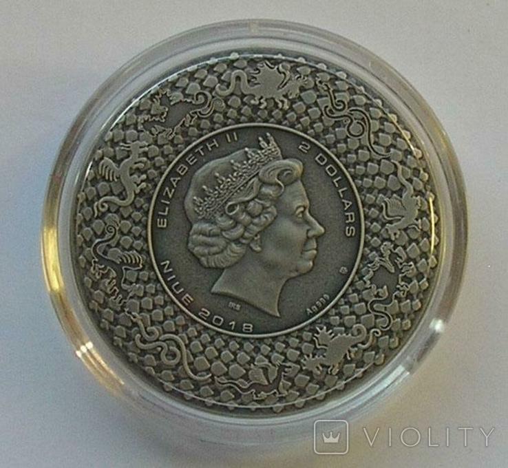 Ниуэ 2 доллара Дракон серебро Niue 2018 Chinese Dragon 2 Oz Silver, фото №6