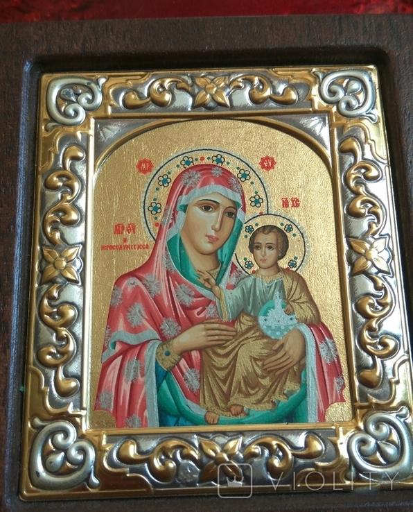 Копия,икона Византийская божья матерь, в серебряном окладе 925 пробы, фото №3