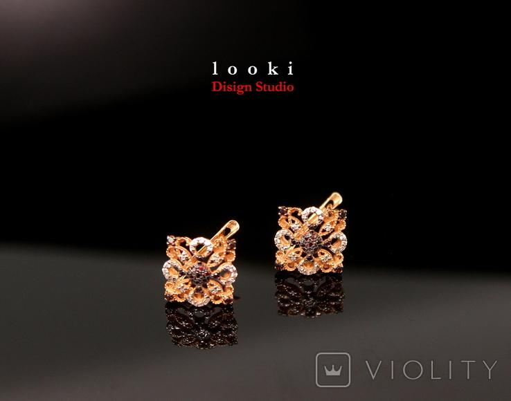Золото Золотые серьги Женские серёжки 585, фото №2