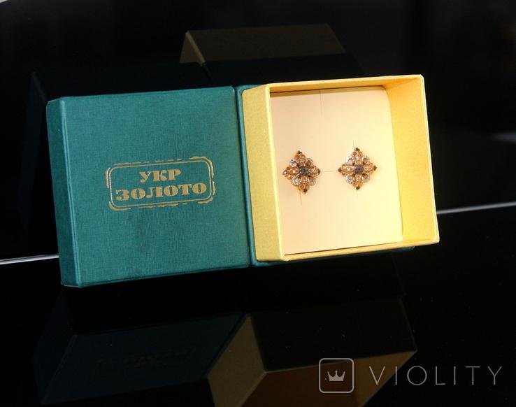 Золото Золотые серьги Женские серёжки 585, фото №3