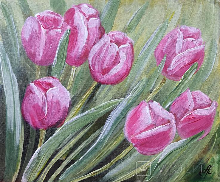 Картина, Тюльпановые фантазии, 25х30 см. Живопись на холсте, фото №3