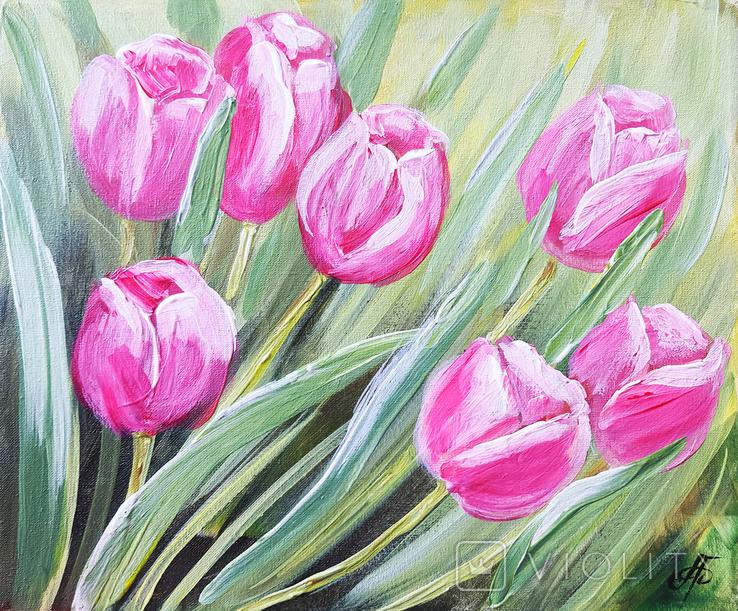 Картина, Тюльпановые фантазии, 25х30 см. Живопись на холсте, фото №4