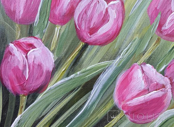 Картина, Тюльпановые фантазии, 25х30 см. Живопись на холсте, фото №6