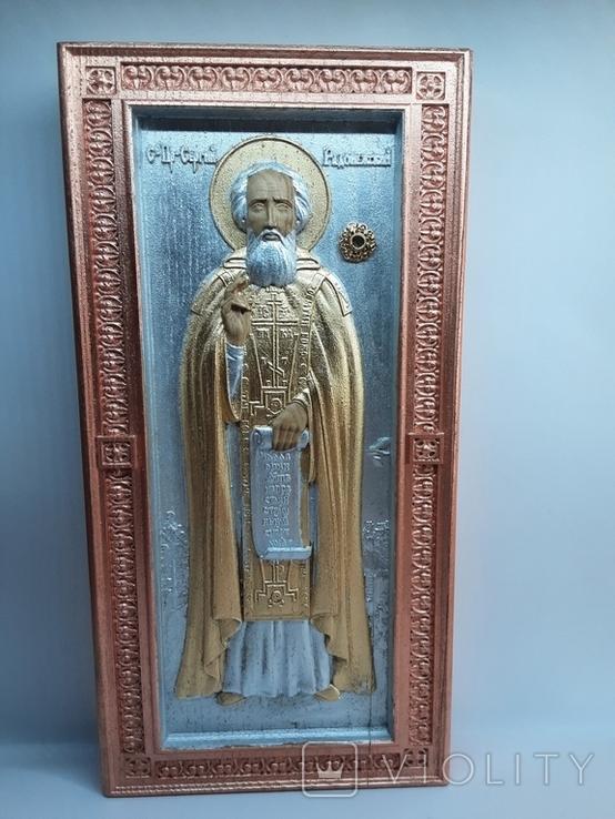 Мощевик-икона Святого преподобного Сергия Радонежского с частицей., фото №3