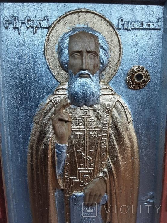 Мощевик-икона Святого преподобного Сергия Радонежского с частицей., фото №5