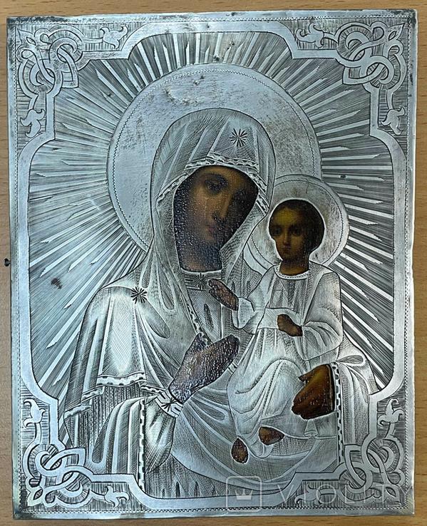 Икона Богородицы в серебряном окладе 84 пробы, фото №6