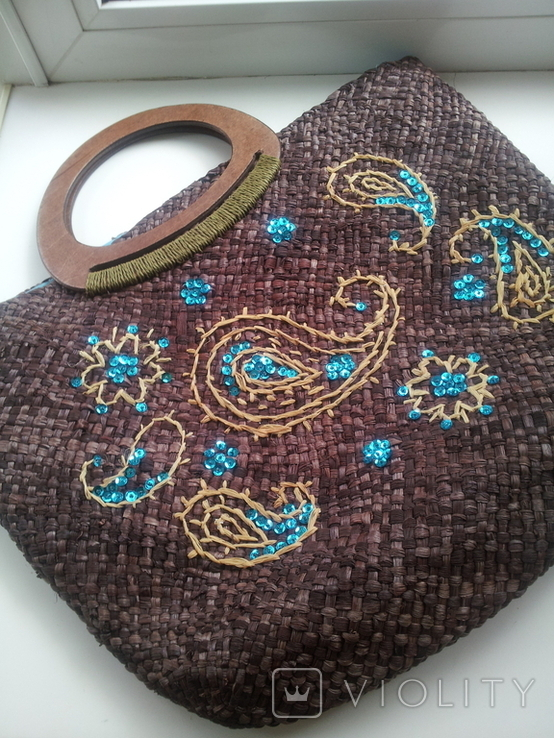 Сумка из соломки с вышивкой TU, фото №2