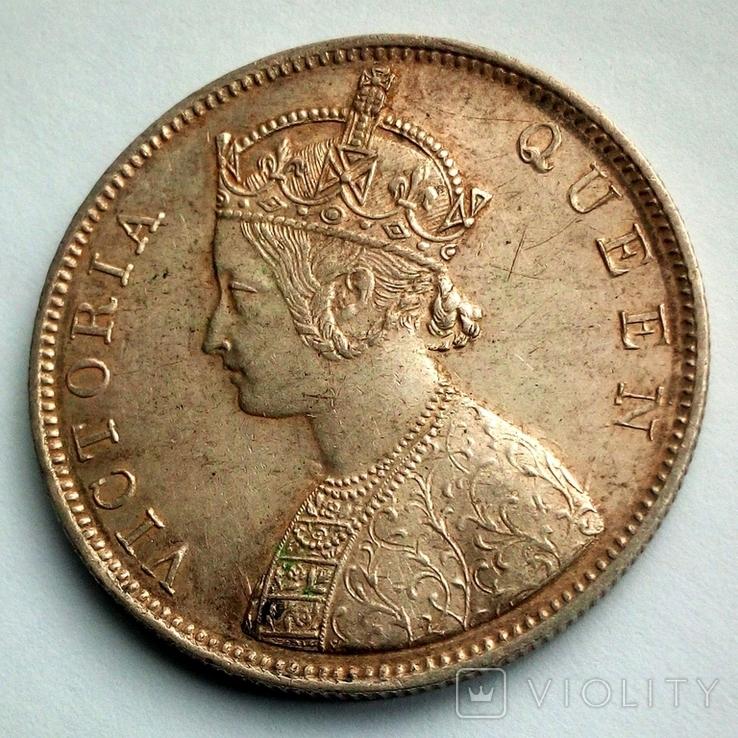 Британская Индия 1 рупия 1862 г. - Виктория (первый год чеканки), фото №4