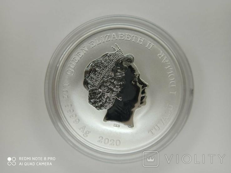 Срібна монета Tuvalu 1 James Bond 007 2020 р., фото №3