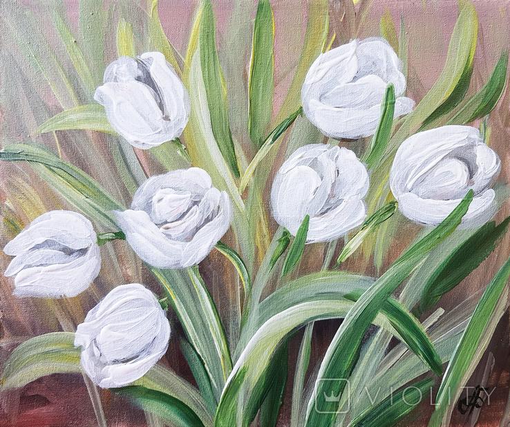 Картина, Белые тюльпаны, 25х30 см. Живопись на холсте, фото №2