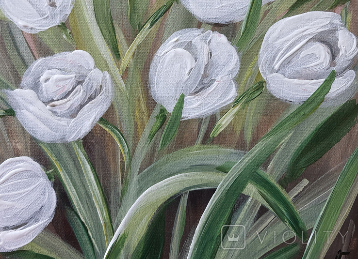 Картина, Белые тюльпаны, 25х30 см. Живопись на холсте, фото №6