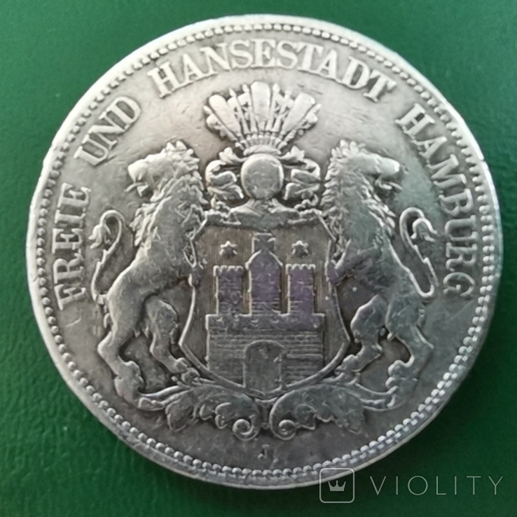 5 марок 1876 р.Гамбург, фото №3