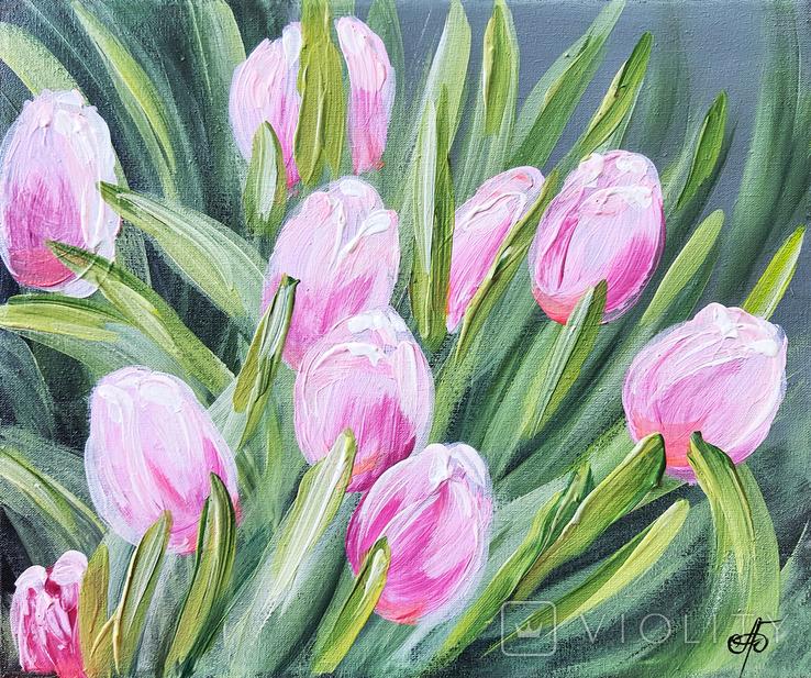 Картина, Розовые тюльпаны, 25х30 см. Живопись на холсте, фото №2