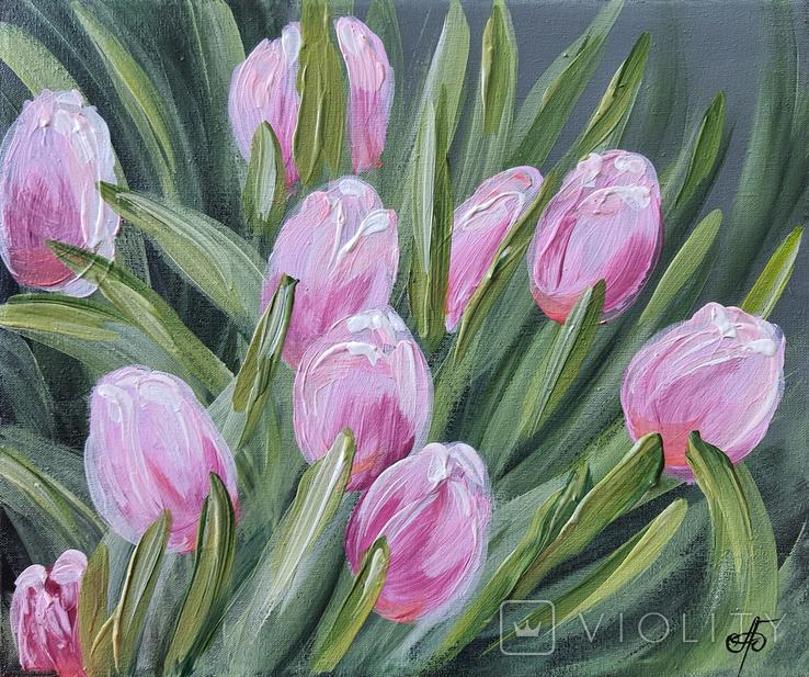 Картина, Розовые тюльпаны, 25х30 см. Живопись на холсте, фото №5