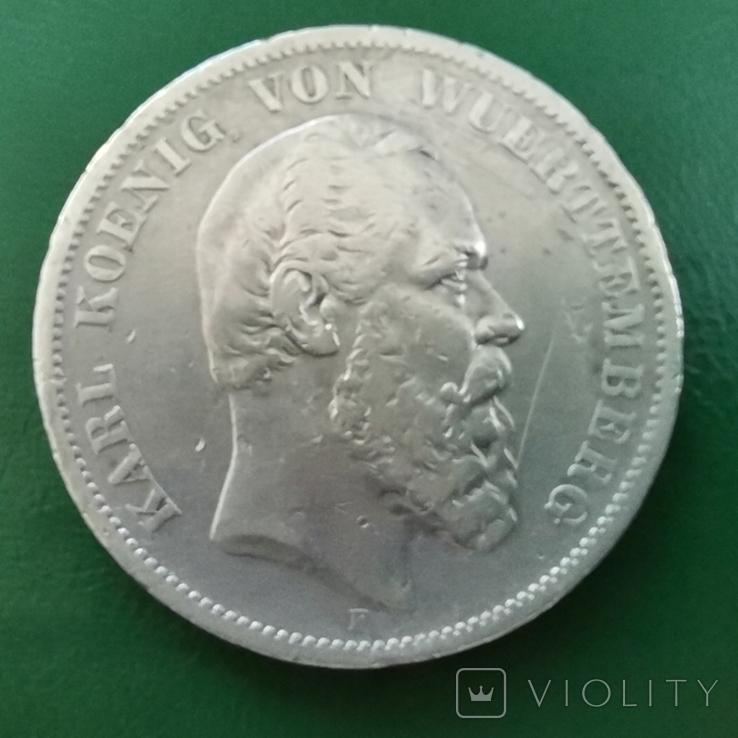 5 марок Вюртемберга 1876р., фото №3