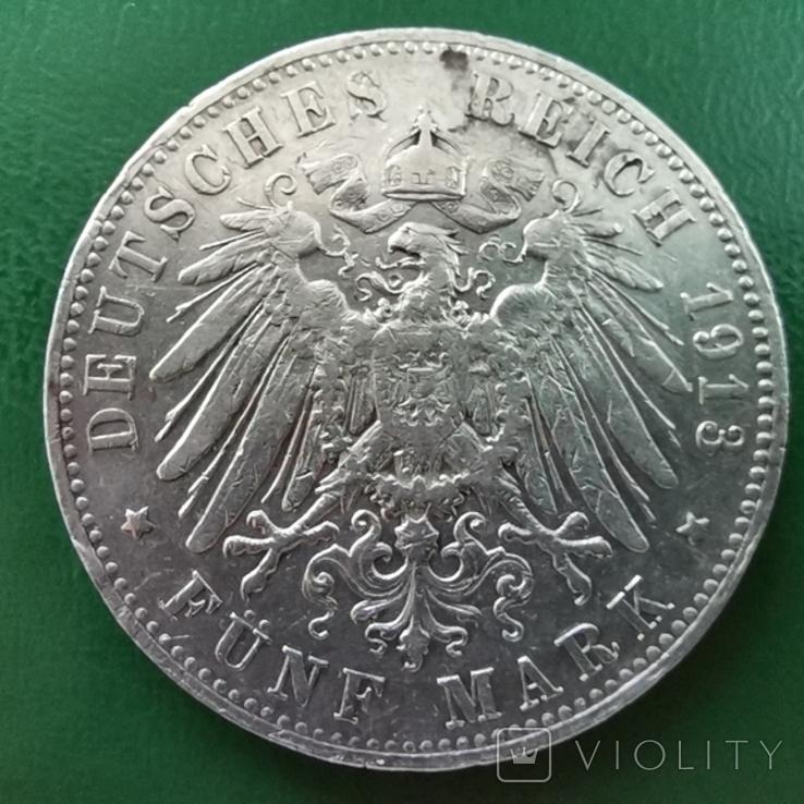 5 марок Вюртемберга 1913р., фото №2