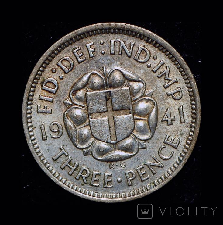 Великобритания 3 пенса 1941 серебро, фото №2