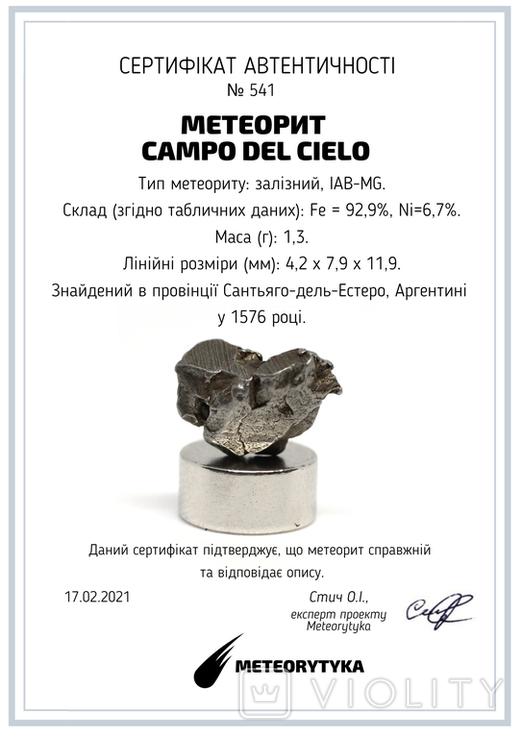 Залізний метеорит Campo del Cielo, 1,3 грам, із сертифікатом автентичності, фото №3
