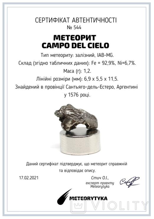 Залізний метеорит Campo del Cielo, 1,2 грам, із сертифікатом автентичності, фото №3