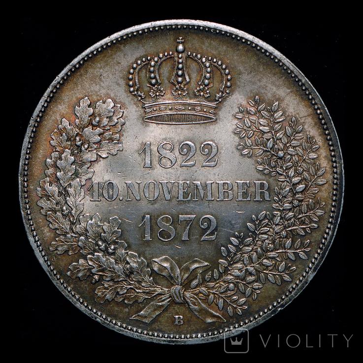 Саксония двойной талер 1872 серебро, фото №4