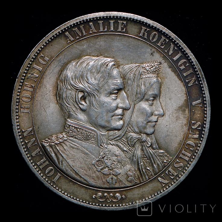 Саксония двойной талер 1872 серебро, фото №2