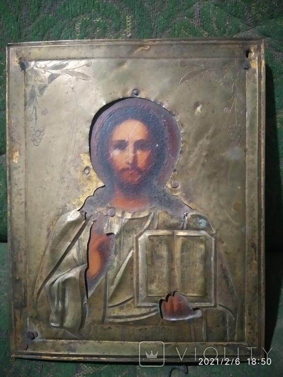 Икона Иисус Христос, в латунном окладе, фото №2