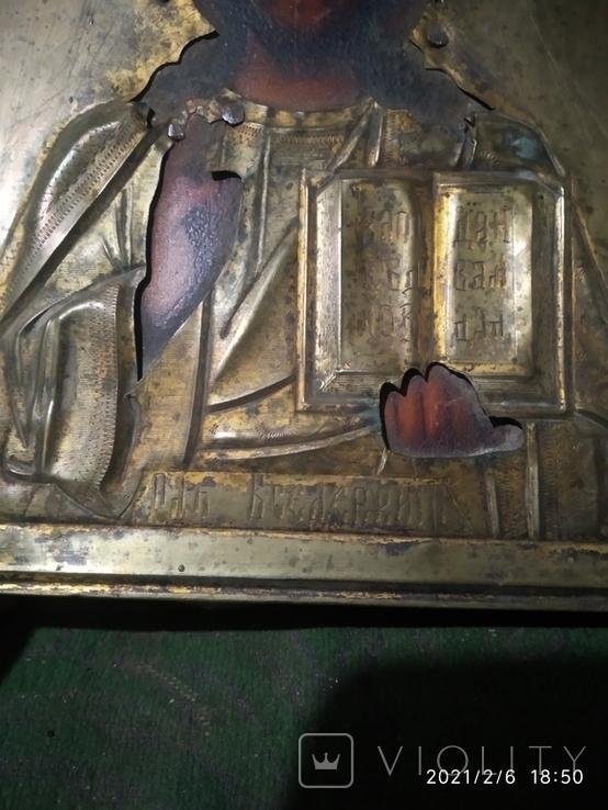 Икона Иисус Христос, в латунном окладе, фото №5