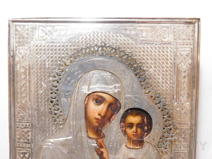 Икона. Смоленская Божья Матерь. Серебряный оклад. Мастер Семён Галкин 1896 год, фото №3