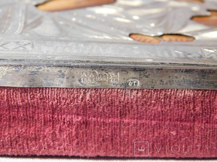 Икона. Смоленская Божья Матерь. Серебряный оклад. Мастер Семён Галкин 1896 год, фото №9