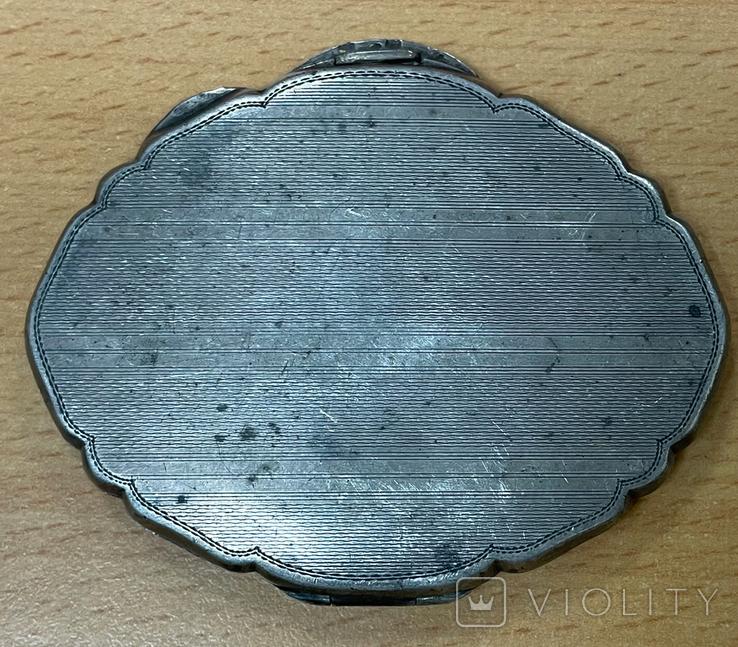 Серебряная пудреница 800 пробы с узором, фото №5