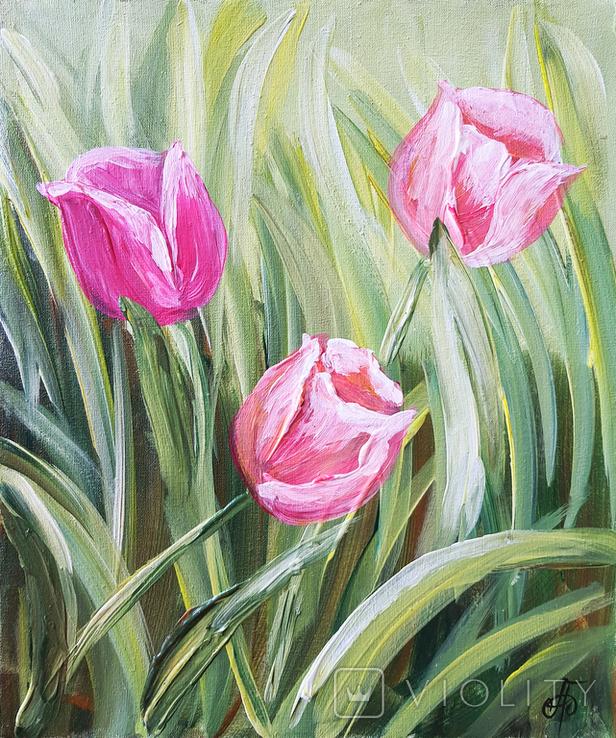 Картина, Тюльпаны, 25х30 см. Живопись на холсте, фото №2