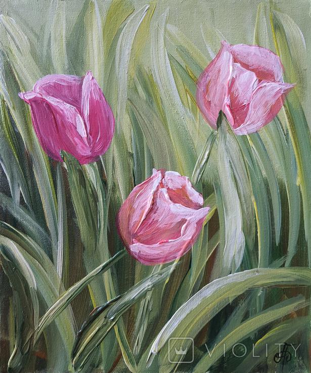Картина, Тюльпаны, 25х30 см. Живопись на холсте, фото №7