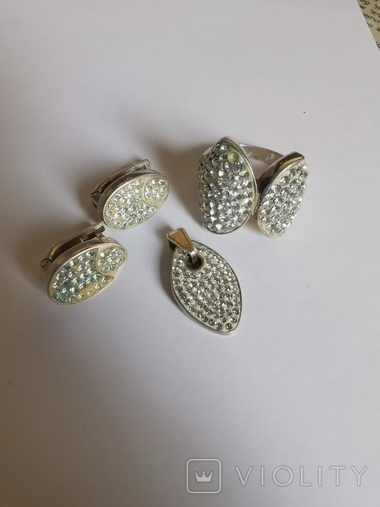 Набор серебряных украшений с камнями Сваровски, фото №2